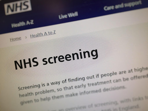A screen shot of the NHS screening page on the NHS.uk website