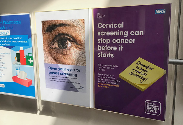 A poster about cervical cancer in a waiting room