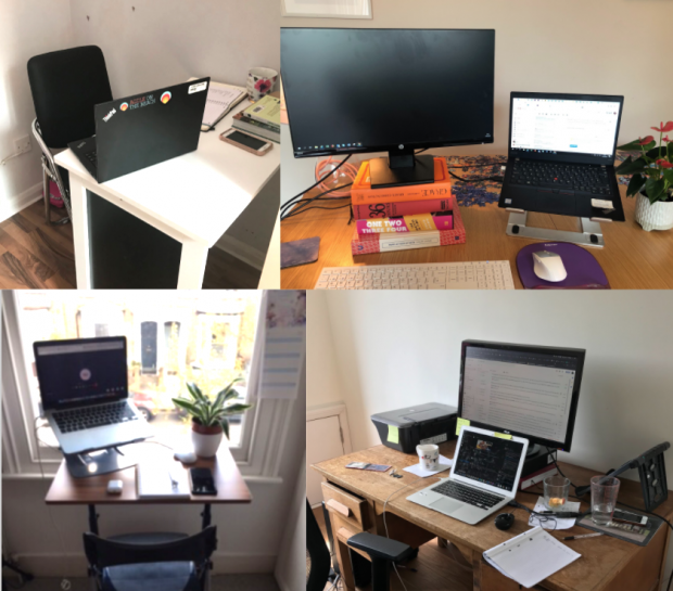 A collage of remote working desks from four NHSX colleagues.