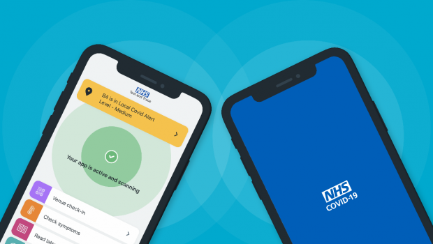 A photo of two mobile phones with images of the NHS COVID 19 app.